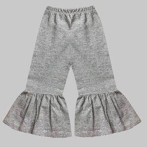 Girls Gray Chalk Pin-Stripe Boho Ruffle Pants